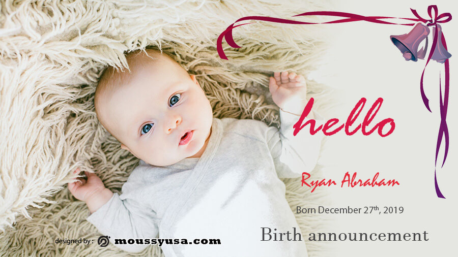 birth announcement psd template free