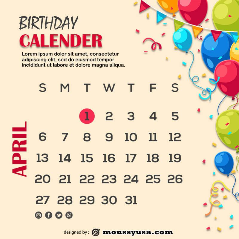 birthday calender free download psd