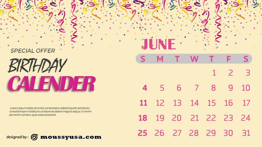 birthday calender free psd template