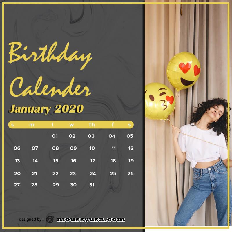 birthday calender in photoshop free download