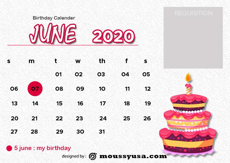 birthday calender psd template free