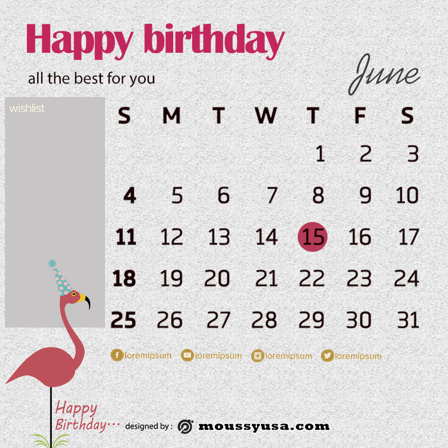 birthday calender template for photoshop