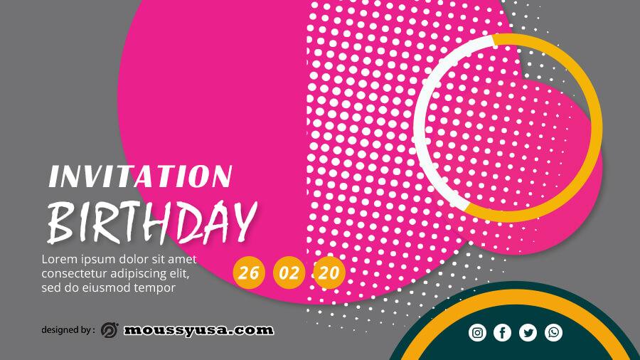 birthday invitation customizable psd design template