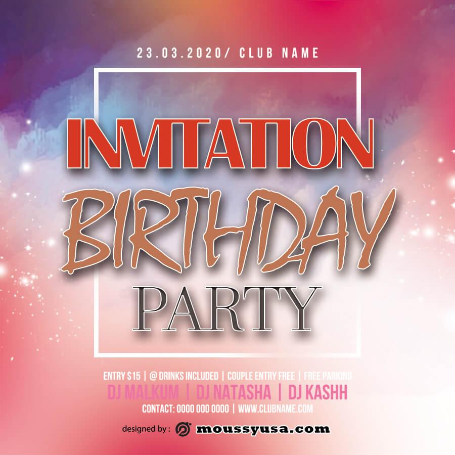 birthday invitation in psd design