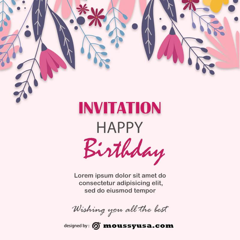 birthday invitation psd template free