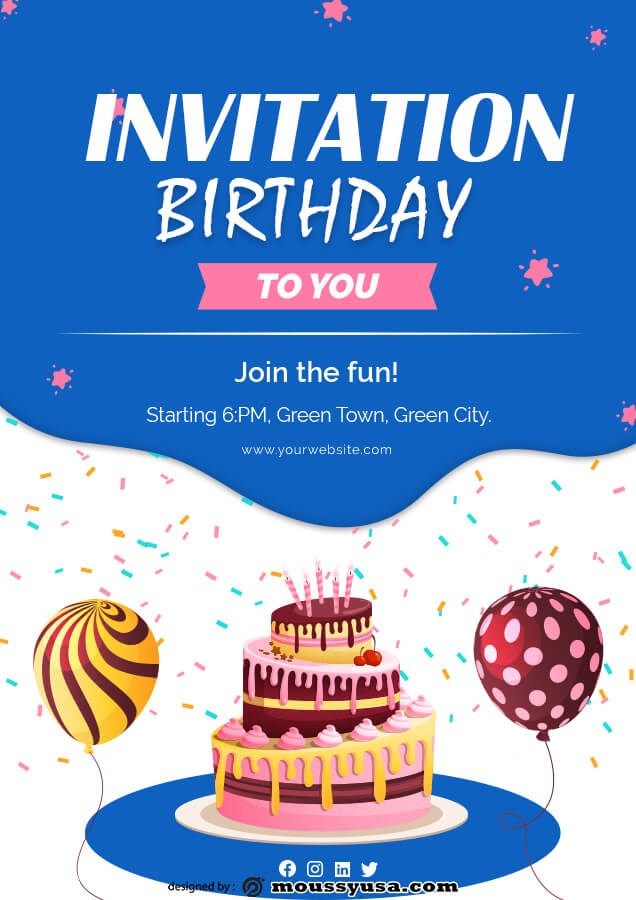 birthday invitation template for photoshop