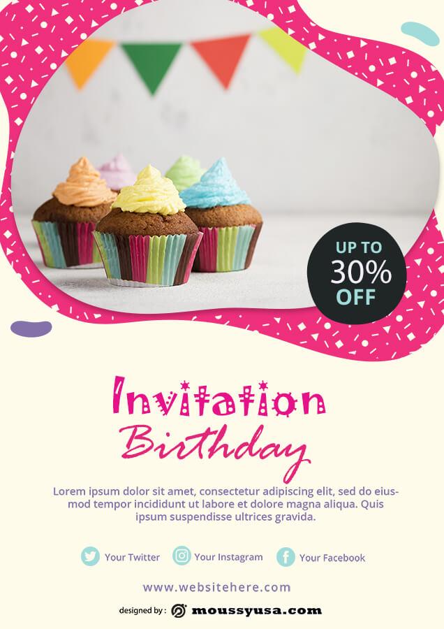 birthday invitation template free psd