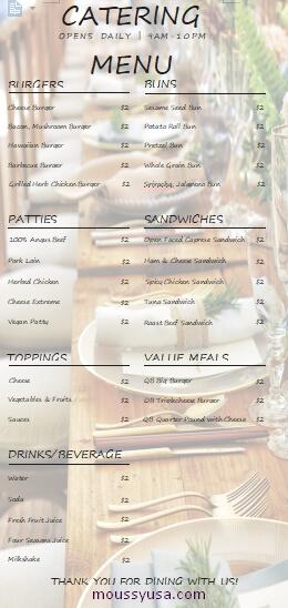 catering menu example word design