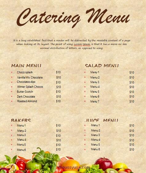 catering menu free download word
