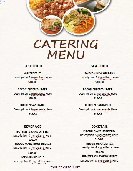 catering menu free word template