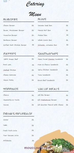 catering menu in word design