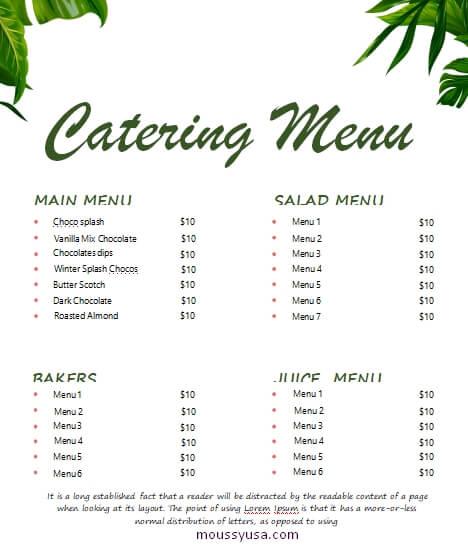 catering menu in word free download