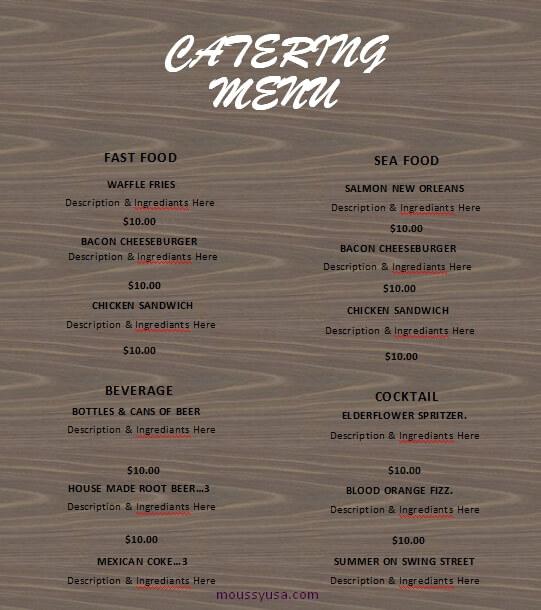 catering menu in word