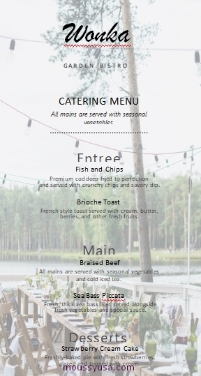 catering menu template for word