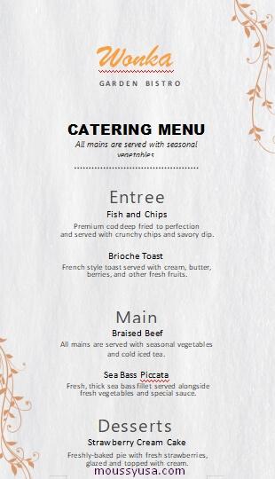 catering menu template free word