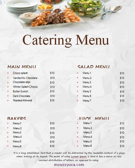 catering menu word template free