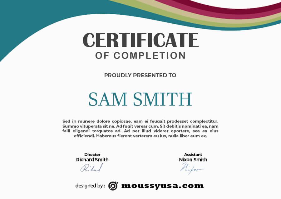 certificate of completion customizable psd design template