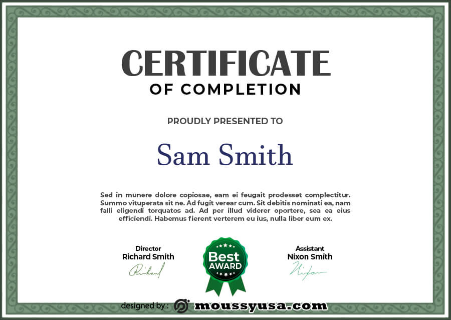 certificate of completion example psd design