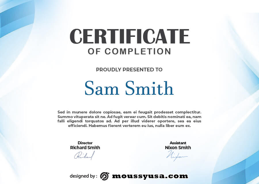certificate of completion free download psd