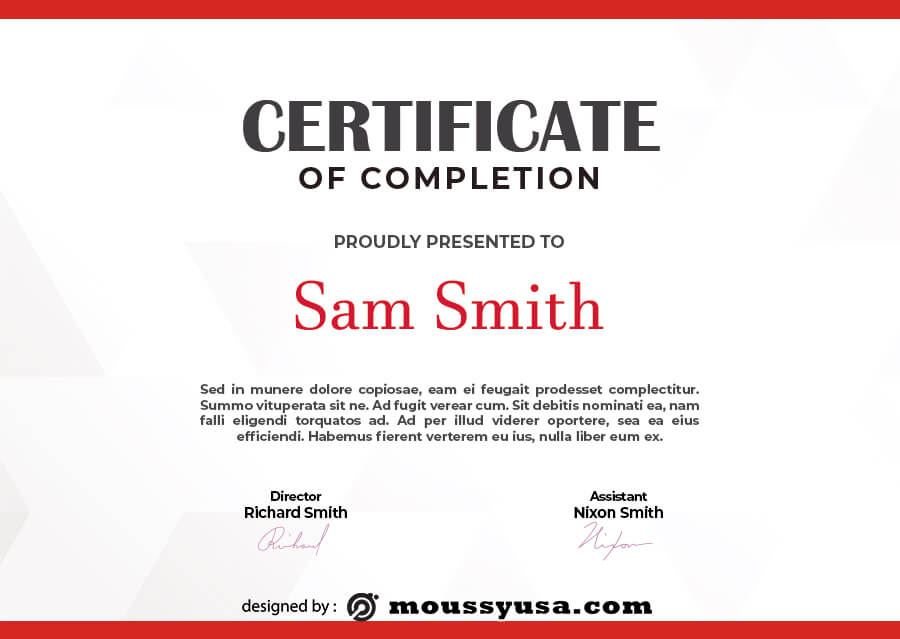 certificate of completion free psd template
