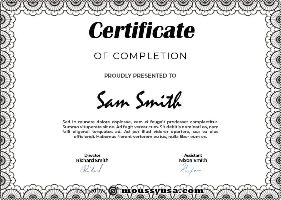 certificate of completion in psd design