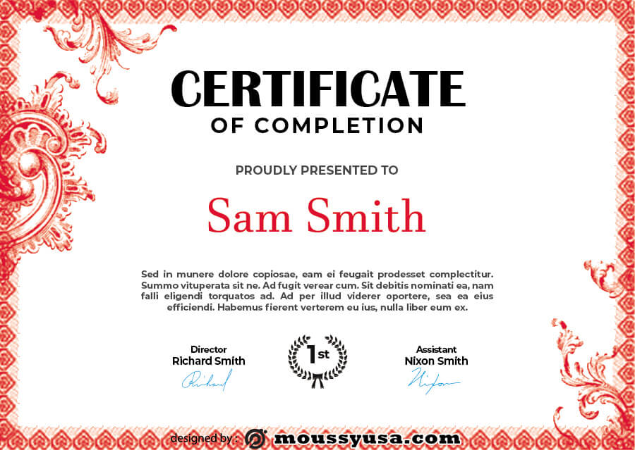 certificate of completion psd template free