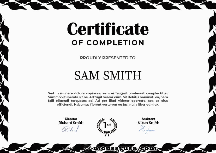 certificate of completion template for photoshop