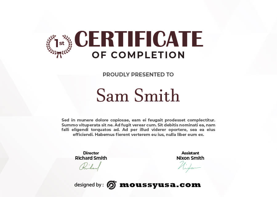 certificate of completion template free psd