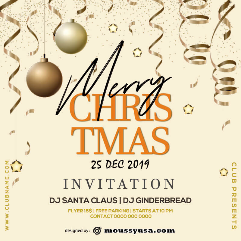christmas party invitation customizable psd design templates