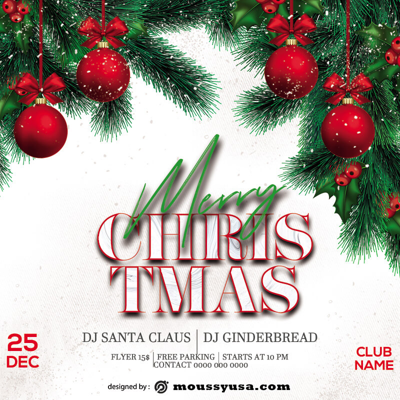 christmas party invitation example psd design