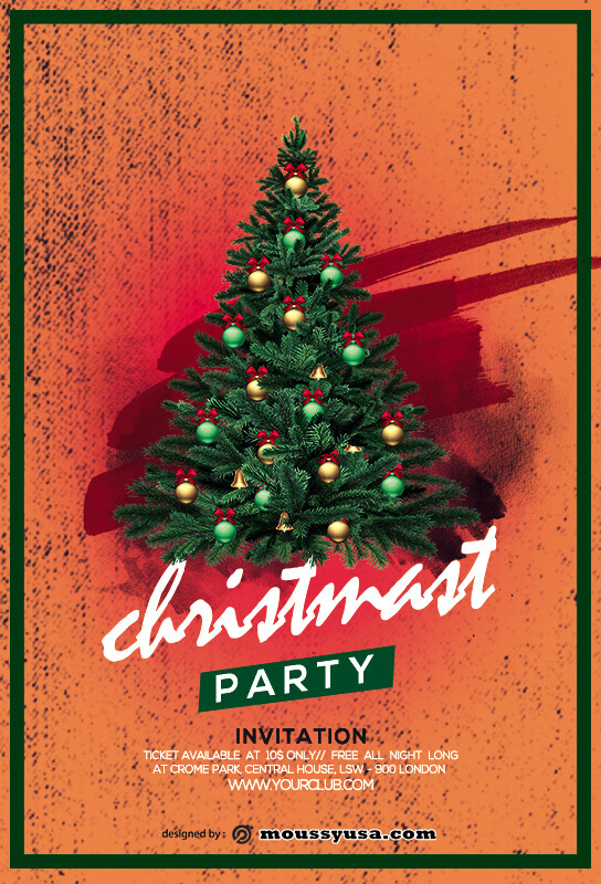christmas party invitation in photoshop
