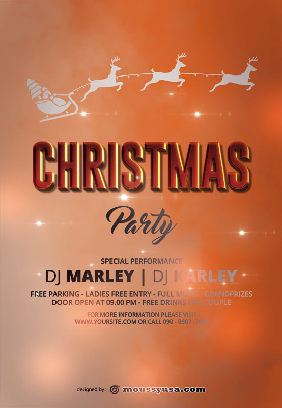 christmas party invitation in psd design