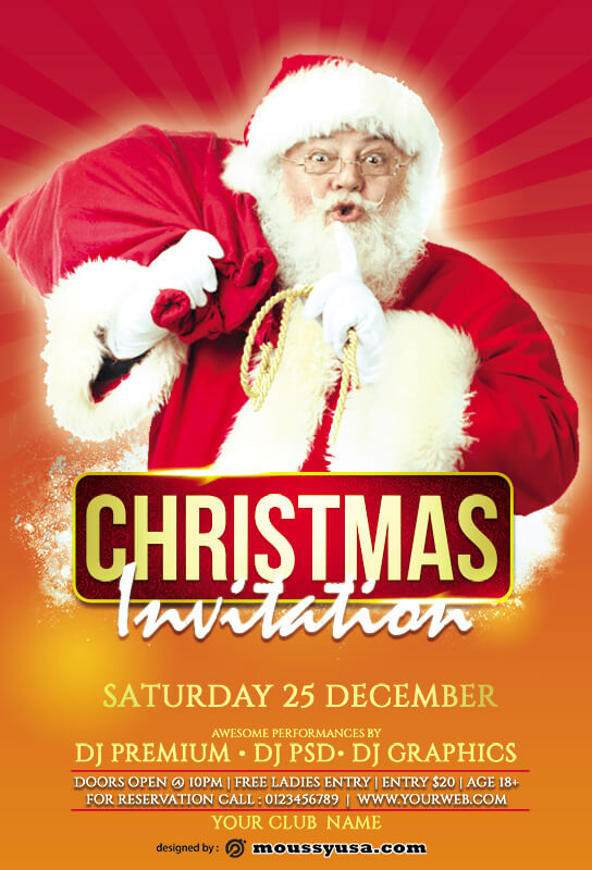 christmas party invitation psd templates
