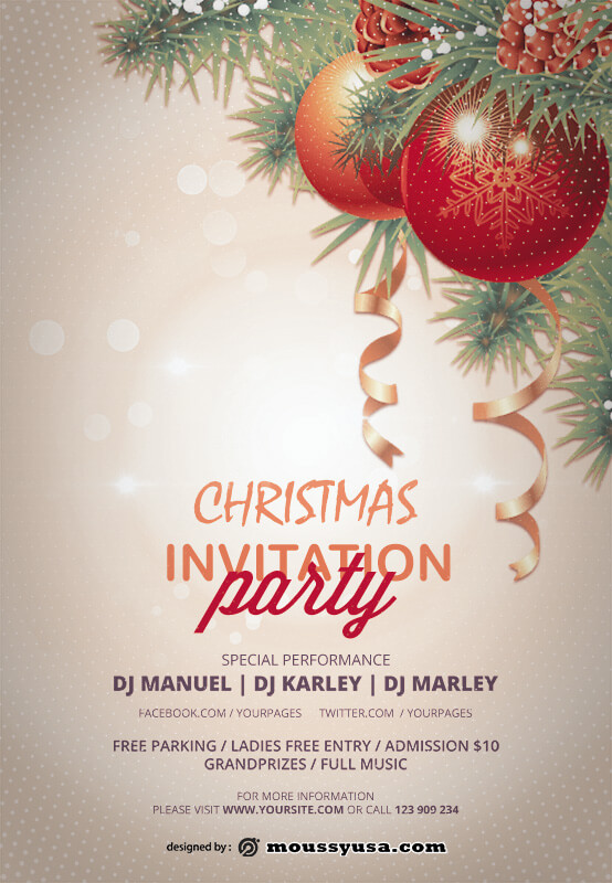 christmas party invitation psd