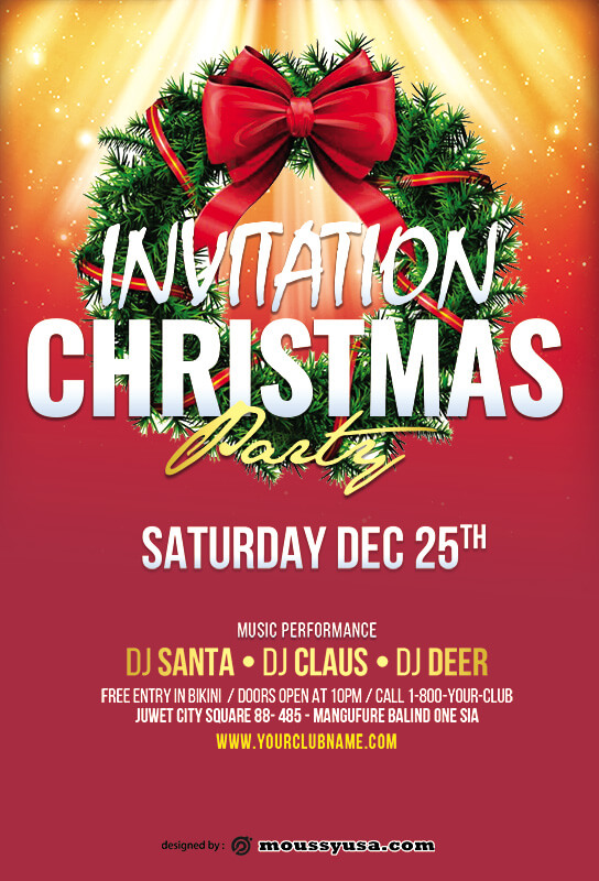 christmas party invitation templates psd