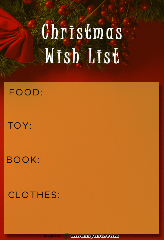 christmas wish list template for photoshop