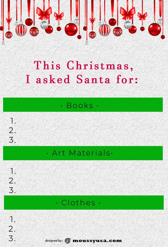 christmas wish list template free psd