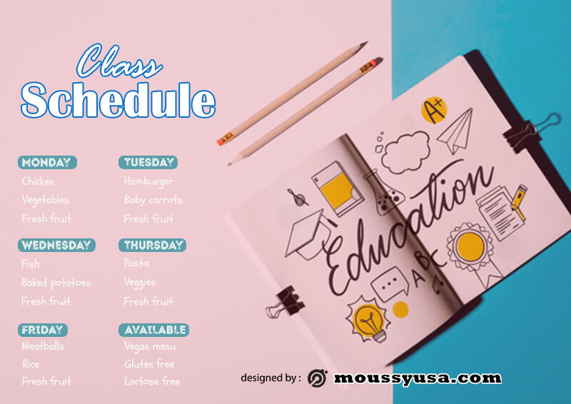class Schedule customizable psd design template