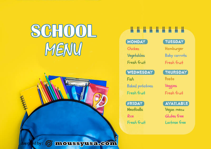 class Schedule example psd design