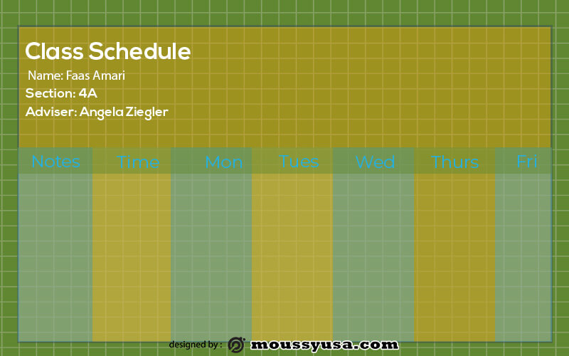 class Schedule free download psd