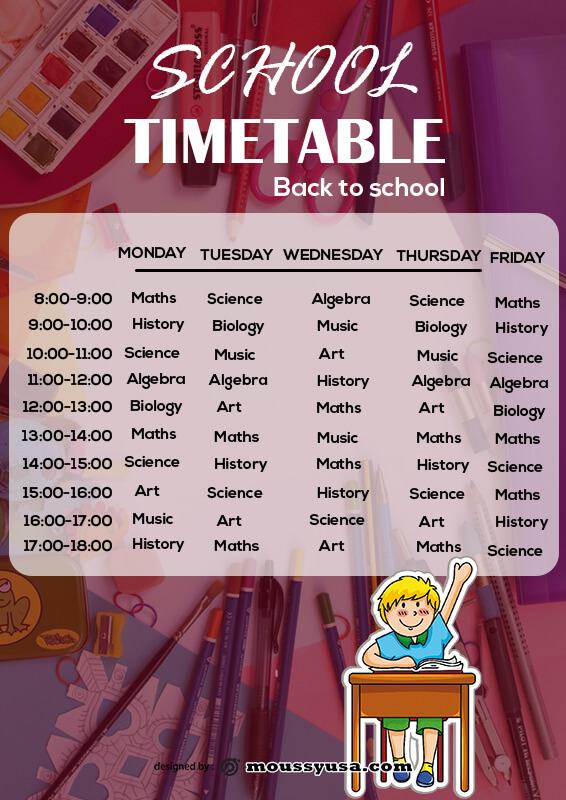 class Schedule free psd template