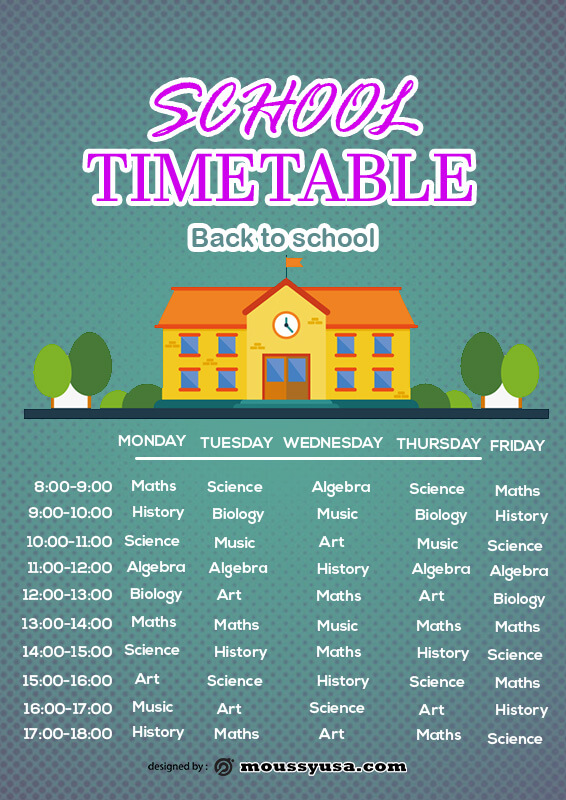 class Schedule in photoshop free download