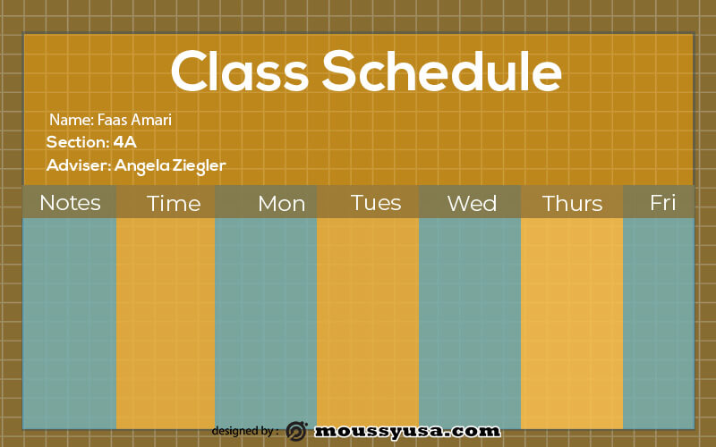 class Schedule in psd design