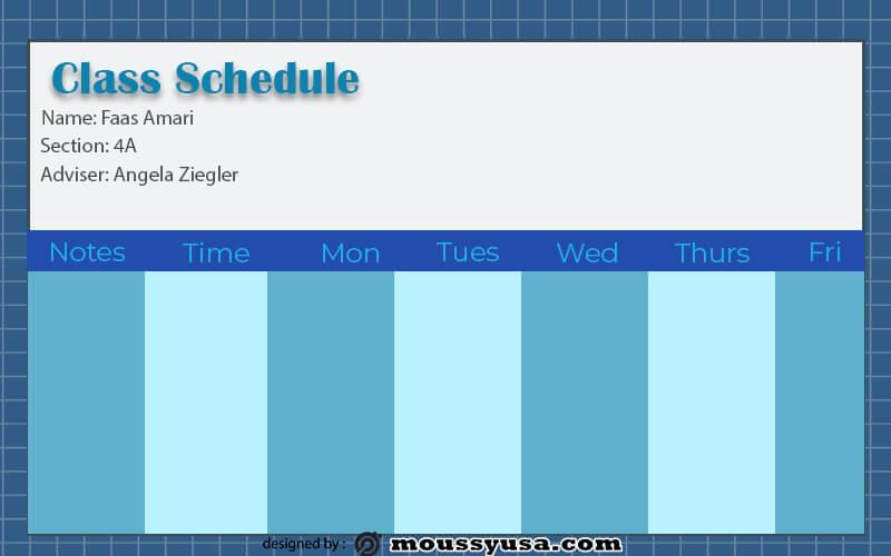 class Schedule psd template free