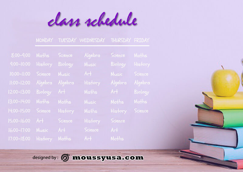 class Schedule template free psd