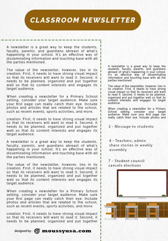 classroom newsletter customizable psd design template