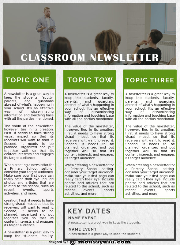 classroom newsletter example psd design
