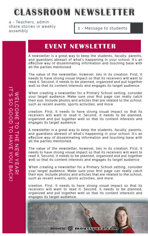 classroom newsletter free download psd