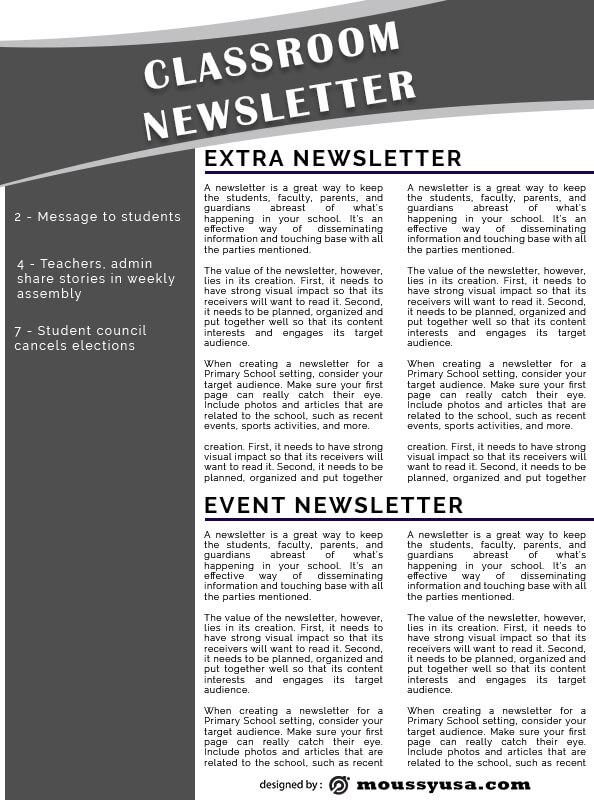 classroom newsletter free psd template
