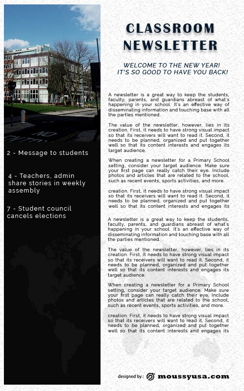 classroom newsletter in photoshop